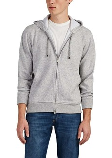 Brunello Cucinelli Men's Fine-Gauge Mélange Cashmere-Cotton Hoodie