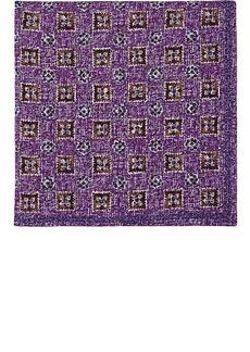 Brunello Cucinelli Men's Floral-Medallion-Print Silk-Cotton Pocket Square