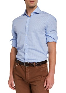 Brunello Cucinelli Men's Gingham Sport Shirt