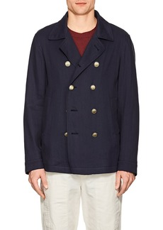 Brunello Cucinelli Men's Herringbone Paper-Cotton Peacoat