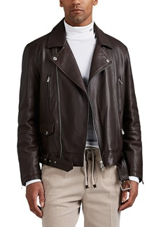 Brunello Cucinelli Men's Leather Insulated Moto Jacket