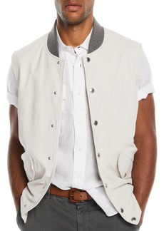 Brunello Cucinelli Men's Leather Vest with Contrast-Knit Collar