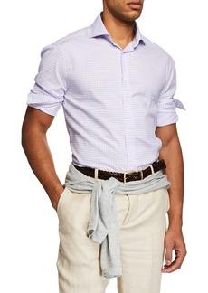 Brunello Cucinelli Men's Long-Sleeve Check Woven Sport Shirt