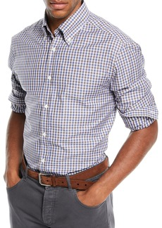 Brunello Cucinelli Men's Micro-Check Sport Shirt
