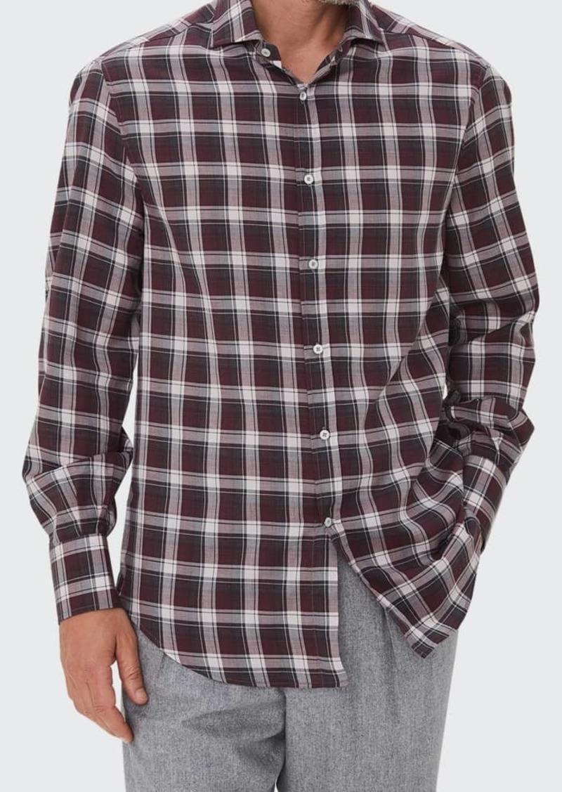 Brunello Cucinelli Men's Plaid Twill Sport Shirt