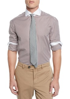 Brunello Cucinelli Men's Poplin Striped Dress Shirt