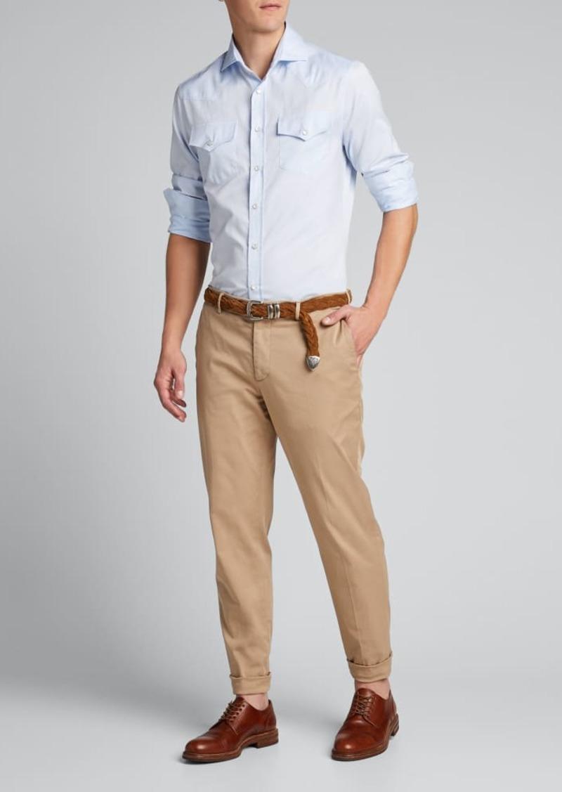 Brunello Cucinelli Men's Solid Twill Double-Pocket Sport Shirt