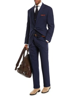 Brunello Cucinelli Men's Solid Wool-Blend Two-Piece Travel Suit