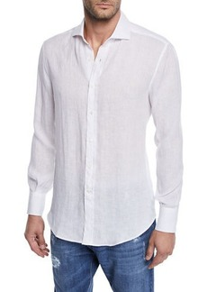 Brunello Cucinelli Men's Solid Woven Shirt