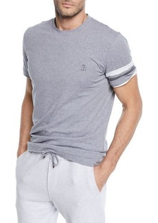 Brunello Cucinelli Men's Spa Crewneck T-Shirt with Armband Detail