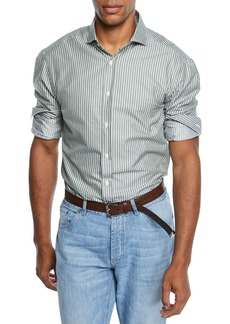 Brunello Cucinelli Men's Stripe Woven Sport Shirt