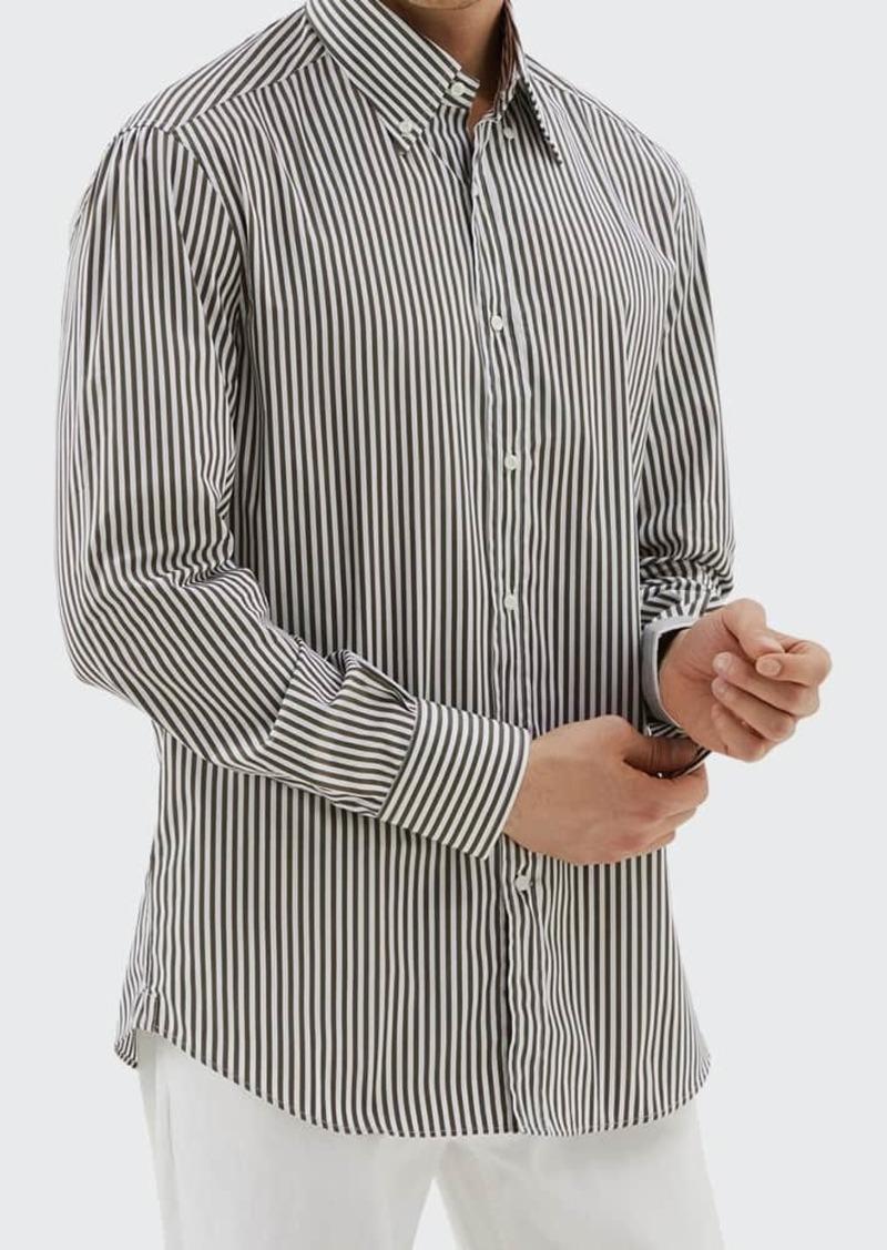 Brunello Cucinelli Men's Striped Cotton Sport Shirt
