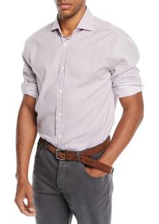 Brunello Cucinelli Men's Striped Poplin Dress Shirt