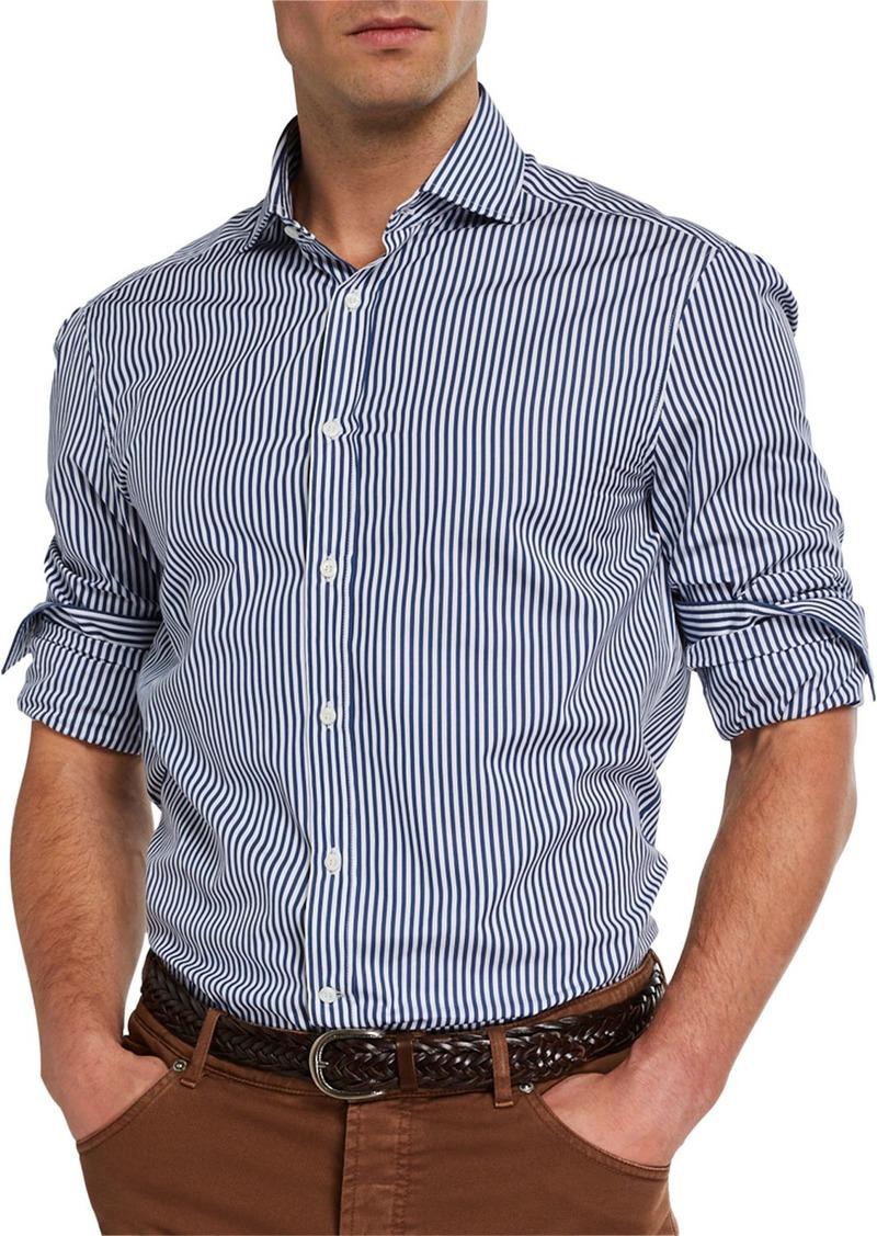 Brunello Cucinelli Men's Striped Sport Shirt