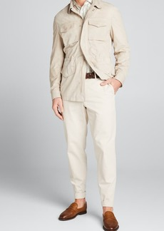 Brunello Cucinelli Men's Suede 4-Pocket Safari Jacket