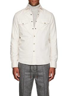 Brunello Cucinelli Men's Western-Style Cotton Twill Shirt