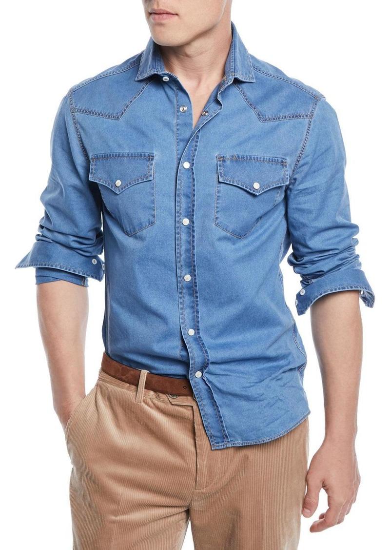 Brunello Cucinelli Men's Western-Style Denim Shirt