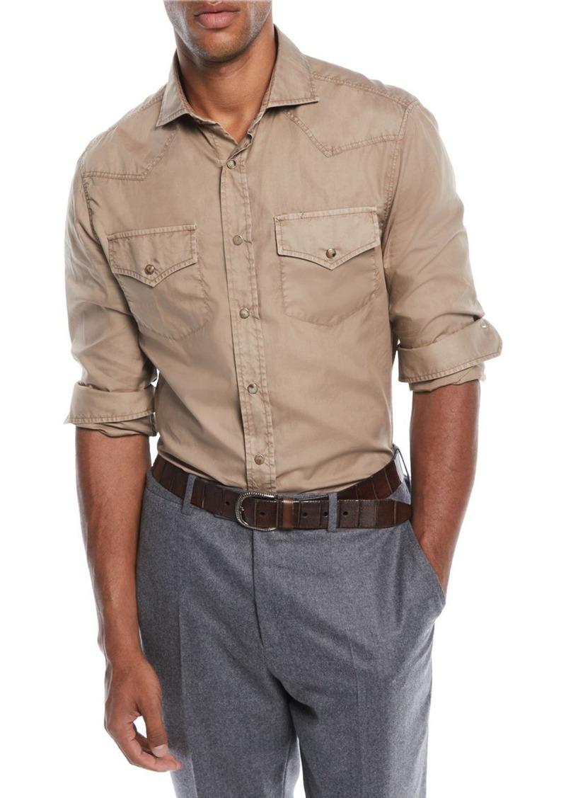 Brunello Cucinelli Men's Western-Style Oxford Shirt