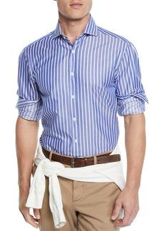 Brunello Cucinelli Men's Wide-Striped Dress Shirt