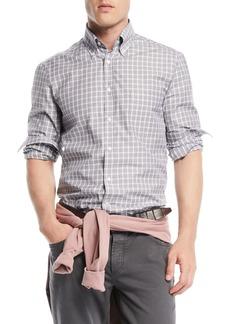 Brunello Cucinelli Men's Windowpane Cotton Sport Shirt