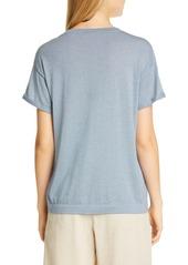 Brunello Cucinelli Metallic Cashmere & Silk Blend Sweater Tee