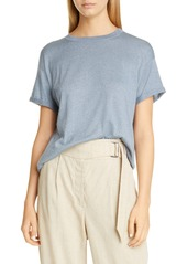 Brunello Cucinelli Metallic Cashmere & Silk Blend Sweater Tee