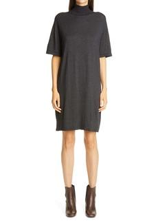 Brunello Cucinelli Metallic Cashmere Blend Shift Sweater Dress