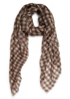 Brunello Cucinelli Metallic Gingham Cashmere Blend Scarf