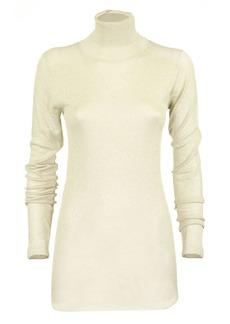 Brunello Cucinelli Metallic Knit Mock Neck Sweater In Neutral