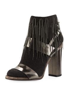 Brunello Cucinelli Metallic Leather Sandal with Cashmere and Monili Sock