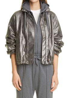 Brunello Cucinelli Metallic Leather Jacket with Removable Hood