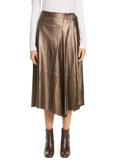 Brunello Cucinelli Metallic Leather Midi Wrap Skirt