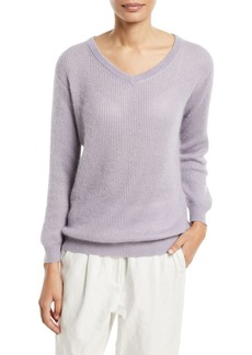Brunello Cucinelli Metallic Mohair-Blend Ribbed Sweater