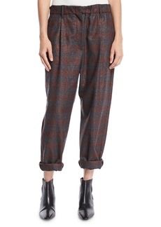 Brunello Cucinelli Metallic-Plaid Pull-On Pants