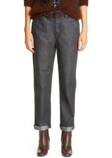 Brunello Cucinelli Metallic Straight Leg Jeans (Blackstone)