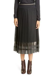 Brunello Cucinelli Metallic Stripe Pleated Midi Skirt