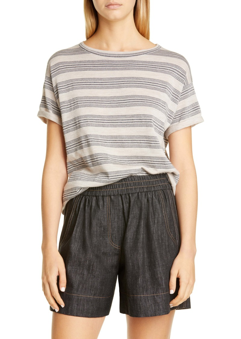 Brunello Cucinelli Metallic Stripe Wool & Cashmere Sweater Tee