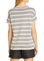 Brunello Cucinelli Metallic Stripe Wool & Cashmere Sweater Tee