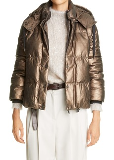 Brunello Cucinelli Metallic Suede Hooded Down Puffer Jacket
