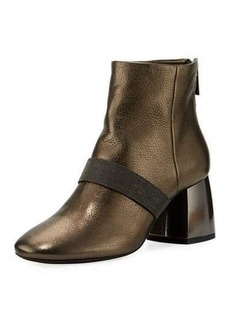Brunello Cucinelli Metallic Zip-Back Block-Heel Bootie