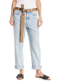 Brunello Cucinelli Mid-Rise Bleached Denim Jeans with Ribbon Belt