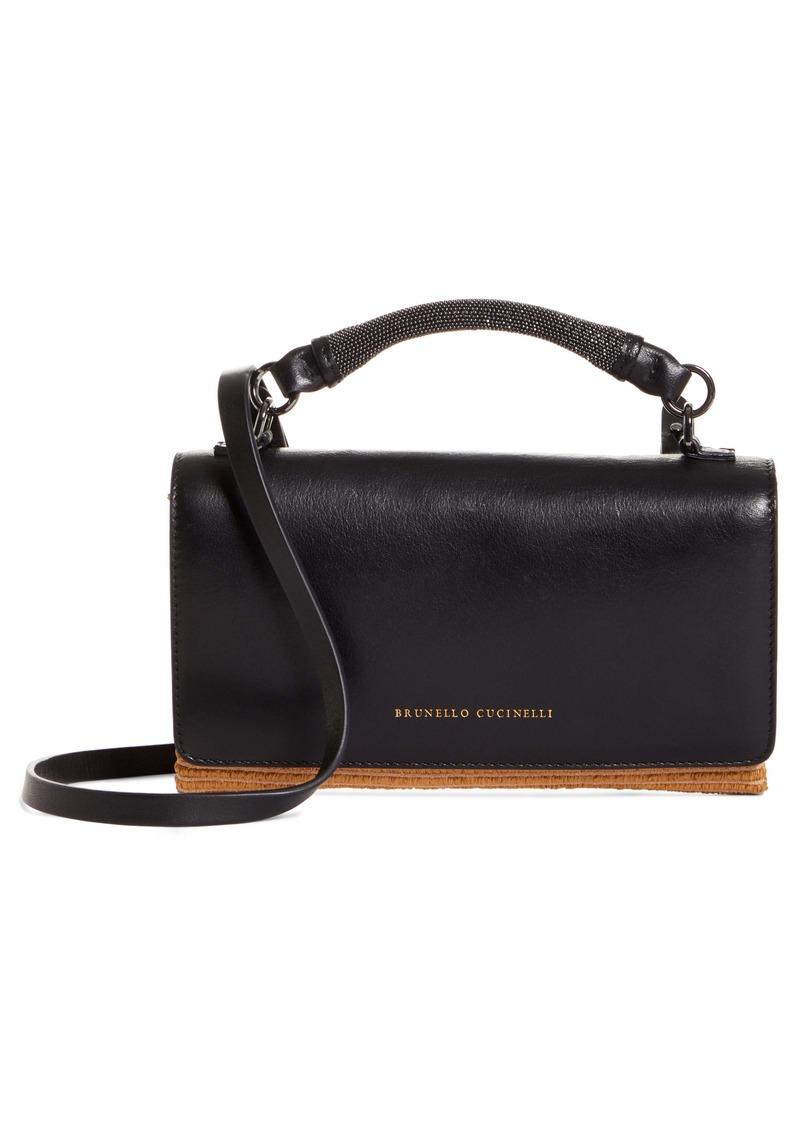 Brunello Cucinelli Mini City Leather & Raffia Crossbody Bag