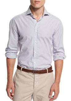 Brunello Cucinelli Mini-Stripe Button-Down Sport Shirt  White/Blue
