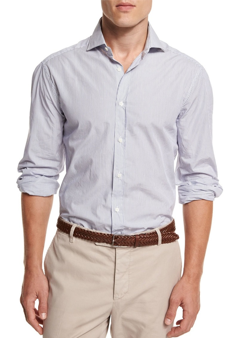 Brunello Cucinelli Mini-Stripe Button-Down Sport Shirt  White/Blue