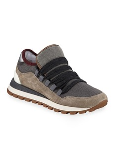 Brunello Cucinelli Mixed Leather and Fabric Sneakers with Monili Trim