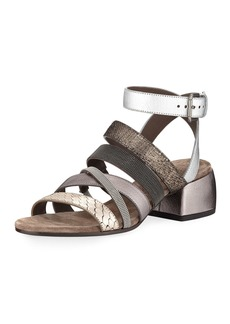 Brunello Cucinelli Mixed-Media Multi-Strap Block-Heel Sandal