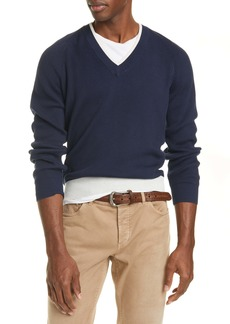 Brunello Cucinelli Mélange Cotton V-Neck Sweater