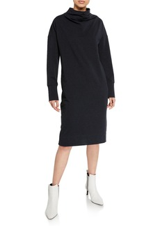Brunello Cucinelli Mock-Neck Stretch Cotton Shift Dress