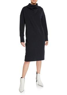 Brunello Cucinelli Mock-Neck Stretch Cotton Shift Dress