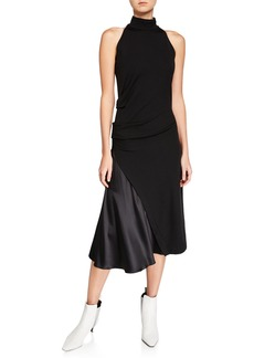 Brunello Cucinelli Mock-Neck Stretch Jersey Dress